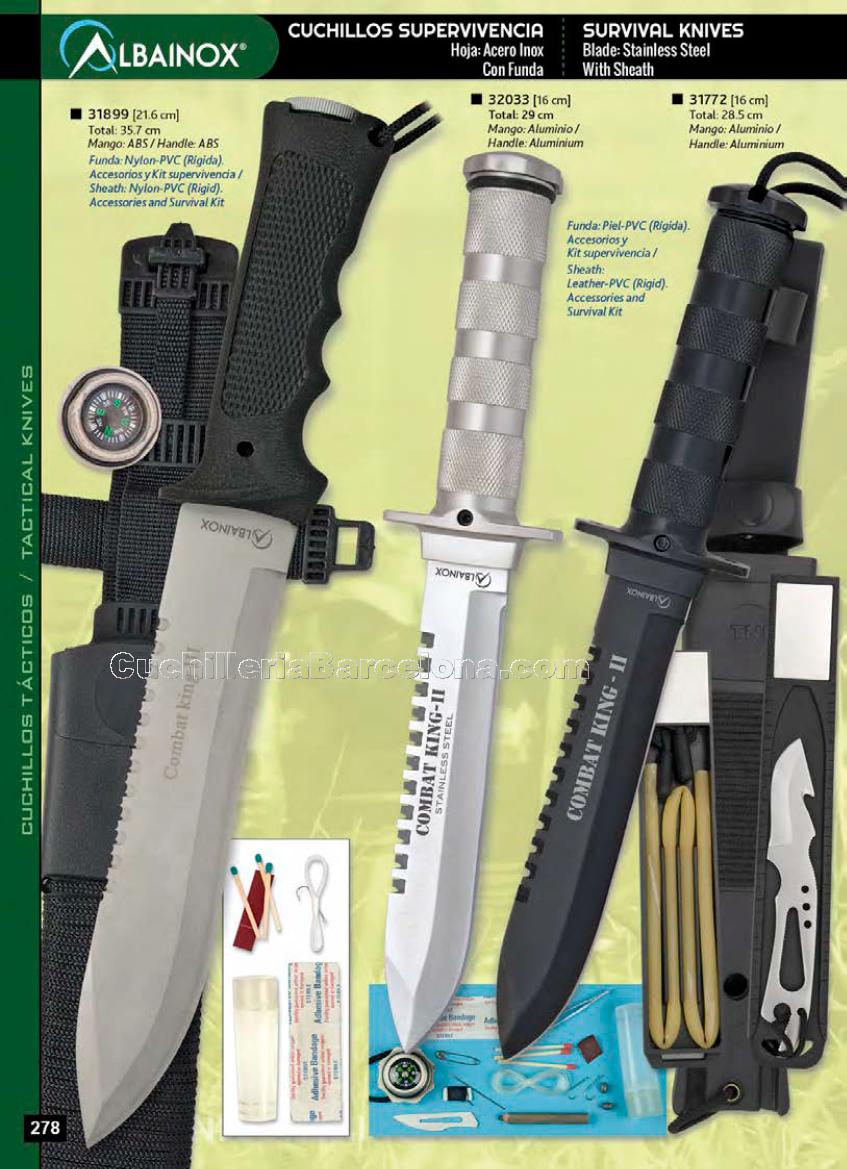 Funda de PVC-Nylon Cuchillo Supervivencia con Accesorios y Kit de Superviencia