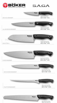 KITCHEN KNIVES SAGA G10 SATIN BOKER