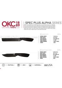 SPEC PLUS ALPHA SERIES TACTICAL MACHETES Ontario